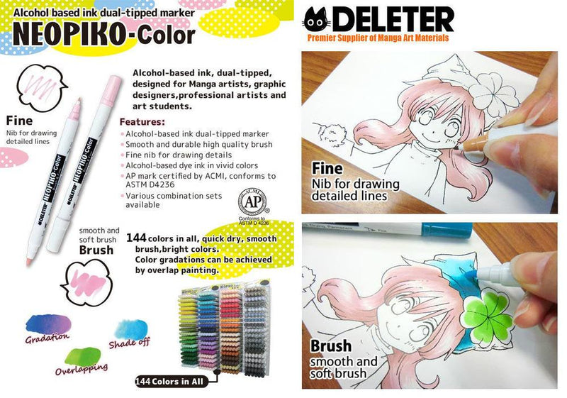 DELETER NEOPIKO-Color Emerald Green (C-233) Alcohol-based Dual Tipped Marker