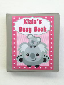 Koala-themed Personalized Busy Book, Quiet Book, Preschool Dry Erase Activity book, Educational Toy, Unique Gift, Traveling Game,