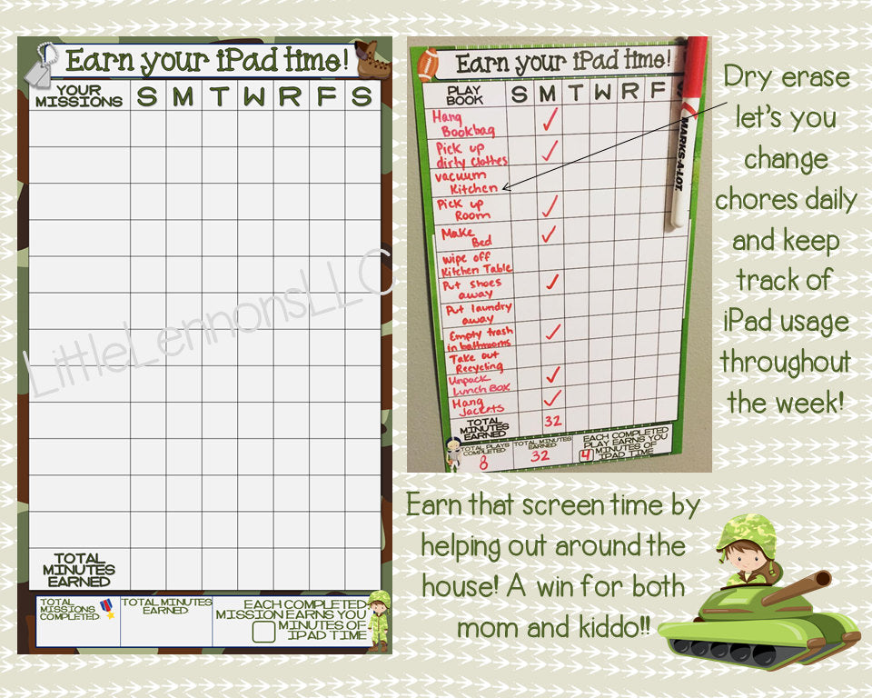 Army Soldier Earn Your iPad/Tablet/Screen/Xbox Time Chart, chore/goal chart, dry erase, laminated, visual chart, boy, device, responsibility