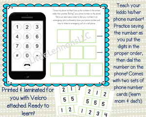 Fully Assembled Phone Number page, learn phone number, kids,laminated, preschool, kindergarten, emergency number, cell phone, busy book