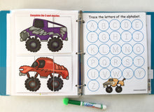 Monster Truck Busy Book, quiet book, dry erase activity book, big brother gift, personalized, quiet time, learning binder, travel, kids