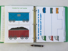 Train Busy Book, quiet book, dry erase activity book, toddler, big brother gift, personalized, custom made, quiet time, learning binder, boy