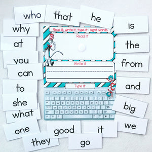 Read it, write it, type it sight word page, learning mat for preschool
