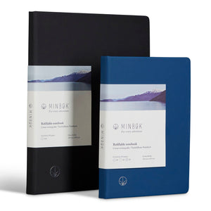 Minbøk black extra-large refillable notebook + blue large refillable notebook
