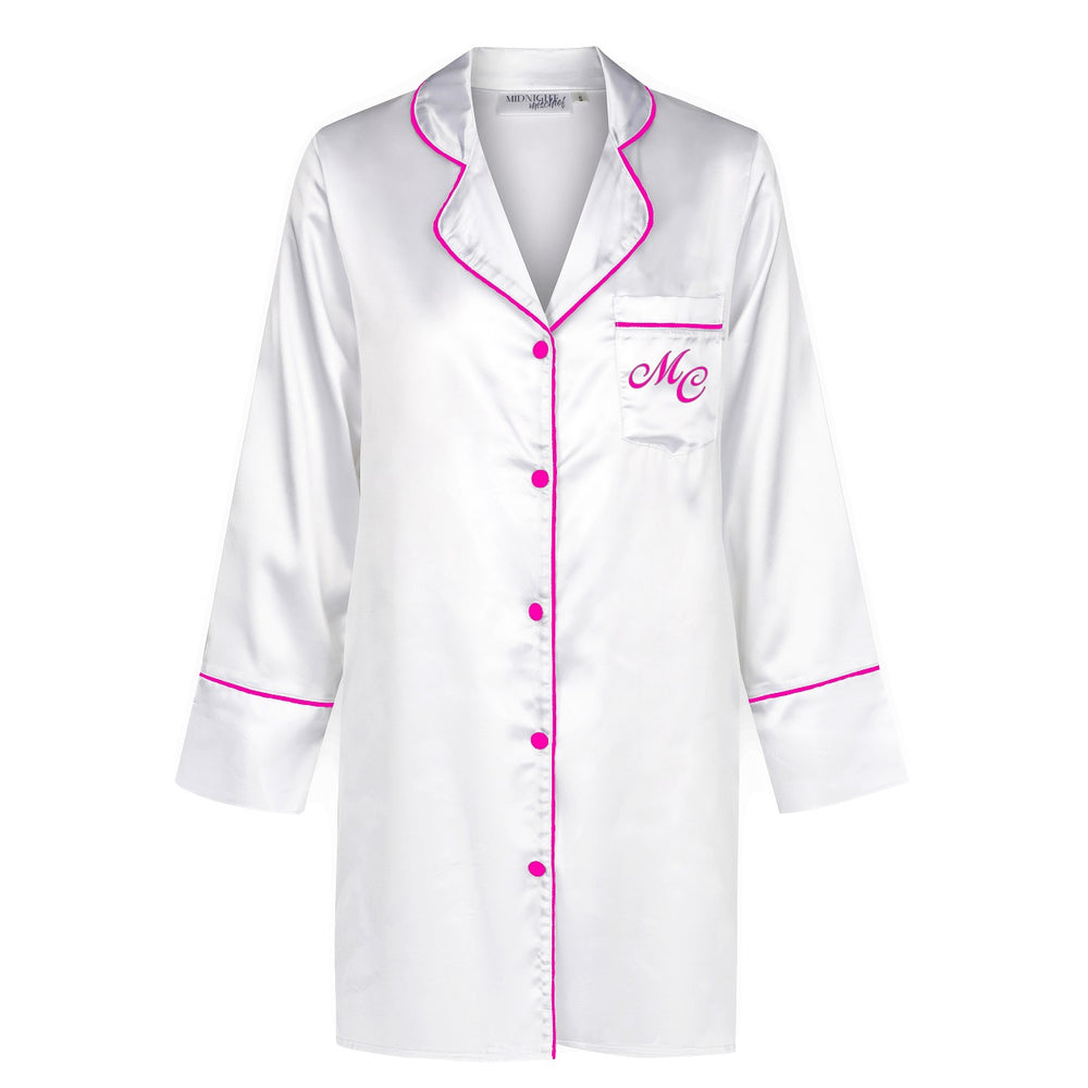 Limited Edition Luxe Personalised Boyfriend Shirt - White/Pink