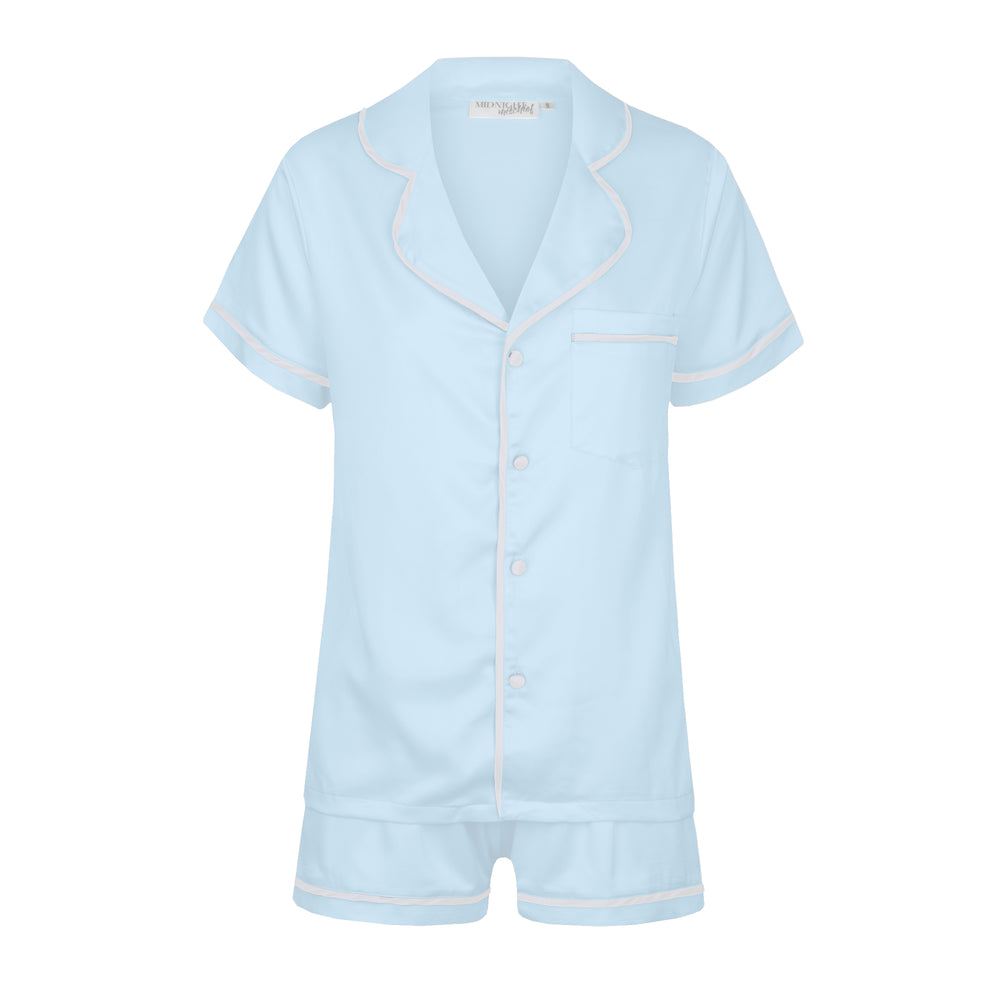 NEW Luxe Personalised Pyjama Set - Short Sleeve Pastel Blue/White