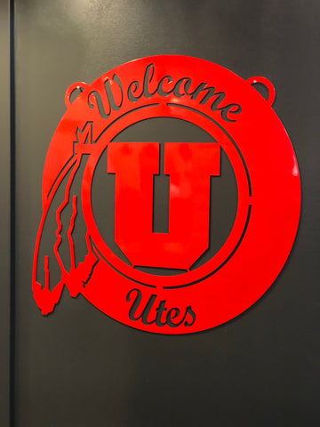 "Utah Gameday Ironworks 24"" Welcome Circle - Utah Sports Collective"