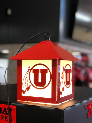 Utah Gameday Ironworks Drum And Feather Hanging Lantern Light - Utah Sports Collective