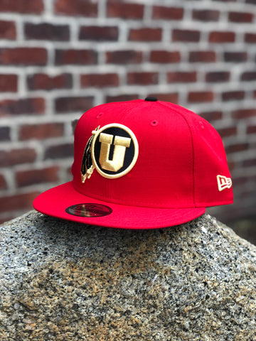 Utah New Era 950 Red Gold Black drum and feather SnapBack
