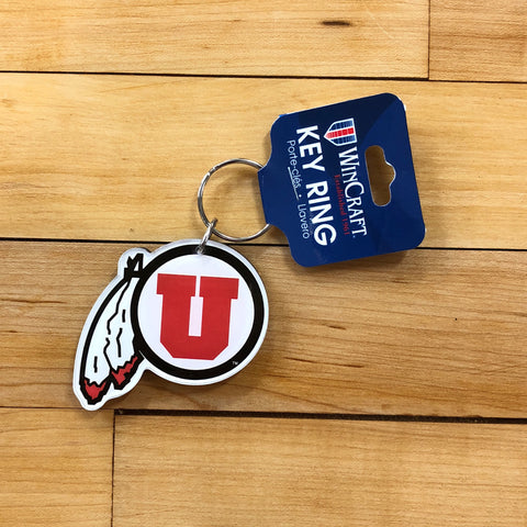 Utah Drum and Feather Plastic Keychain - Utah Sports Collective