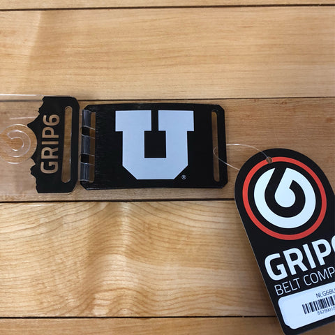 Utah Grip 6 Block U Black Buckle - Utah Sports Collective