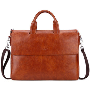VICUNA POLO Bright Color Men Leather Briefcase For 14'' Laptop