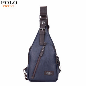 VICUNA POLO Theftproof Magnetic Button Men Leather Chest Crossbody Bags