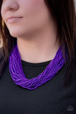 The Show Must CONGO on - Purple  Seed Bead Necklace