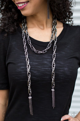 SCARFed for Attention - Gunmetal  Blockbuster Necklace