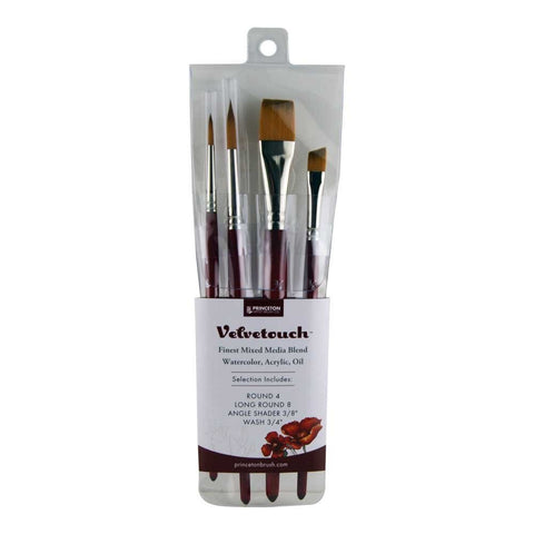 Princeton Velvetouch, Mixed-Media Brushes for Acrylic, Oil, Watercolor Series 3950, 4-Piece Professional Set 100