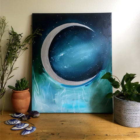 'Silver Moon Garden' Original Painting - Mai Autumn - Original Art