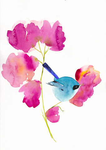 Blue Bird in the Flowers Art Print - Mai Autumn - Artwork
