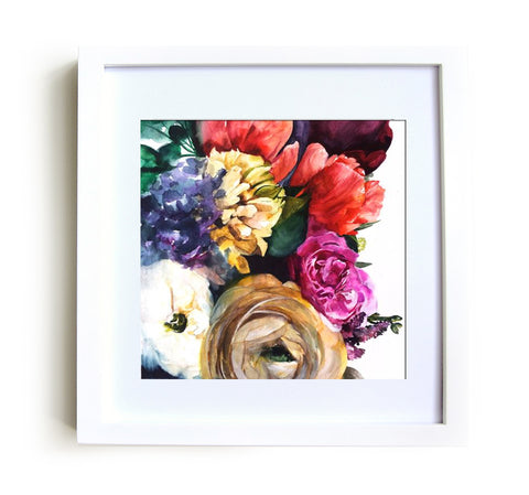 Wild Garden Framed Print in White - Mai Autumn - Framed Prints