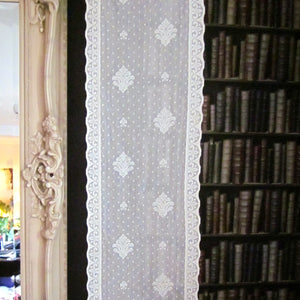 """Edwardian"" Antique Style Cream Cotton Lace Curtain Panelling Sold By The Metre - 12 Inches Wide"