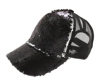 Load image into Gallery viewer, Sequin Mesh Back High Ponytail CC Ball Cap