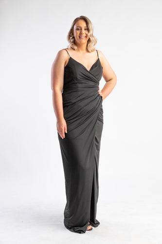 Bariano Black dress with low back and split leg