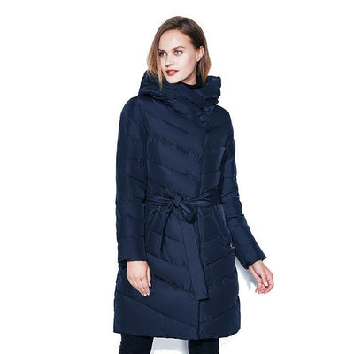 Women Winter Coats Warm Belt Jacket High-Necked Hat