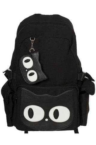 Banned Gothic Rucksack, Hallie Backpack, Kitty Cat Face Large Rucksack | Angel Clothing