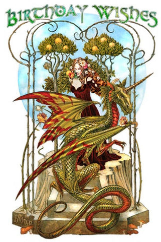 Briar Garden of Firedrake Birthday Card, Gothic Dragon Greetings Card | Angel Clothing