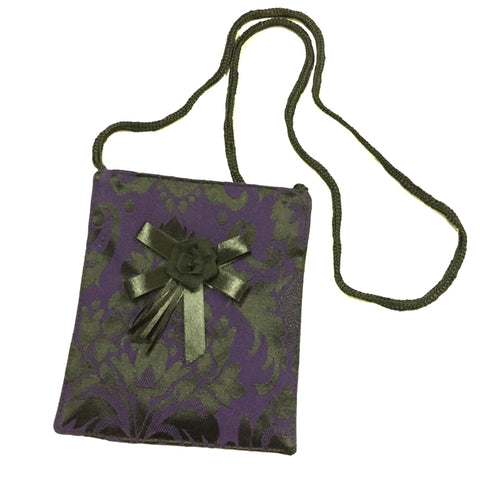 Dark Star - Purple Mini Brocade Shoulder Bag, Gothic Passport Holder With Rose Detail | Angel Clothing