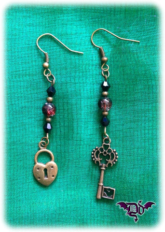 Dragophelion Designs Lock and Key Steampunk Earrings | Angel Clothing