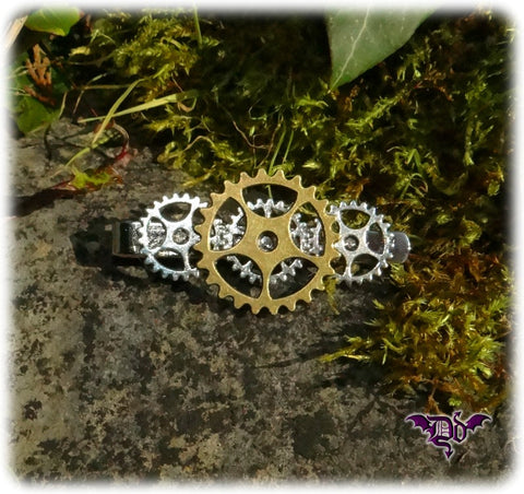Dragophelion Designs Steampunk Tie Clip with Cogs and Gears | Angel Clothing