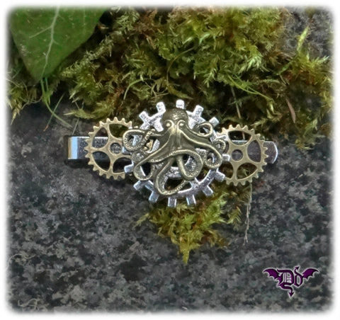 Dragophelion Designs Steampunk Tie Clip with Octopus and Gears | Angel Clothing