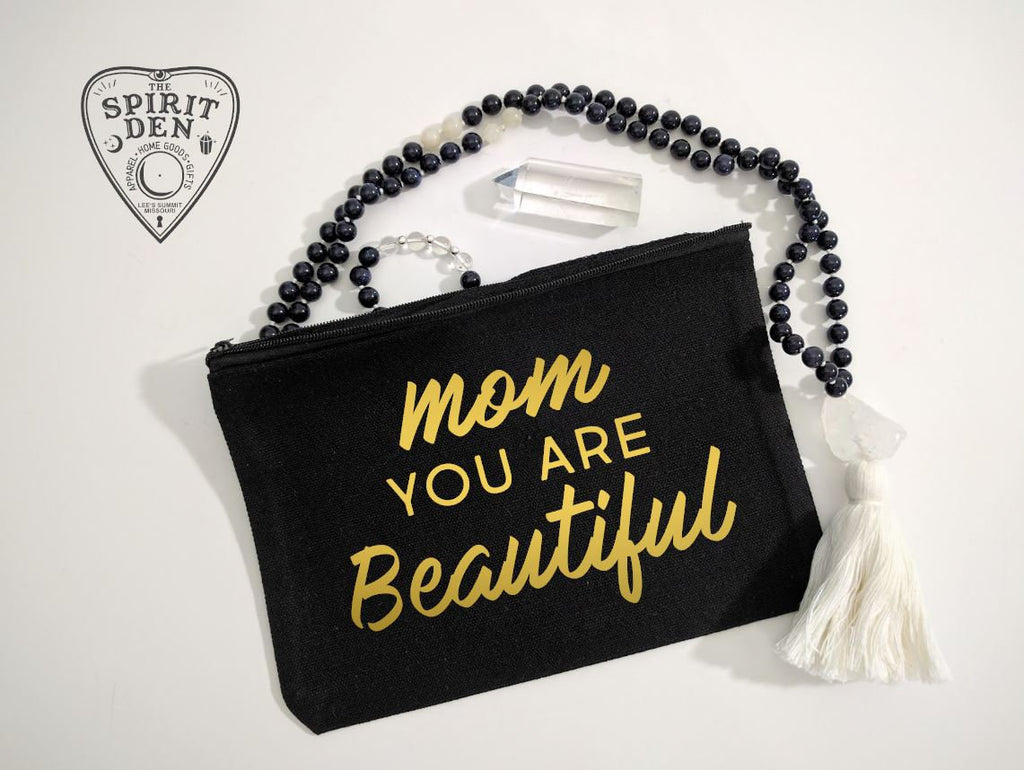 Mom You Are Beautiful Black Zipper Bag