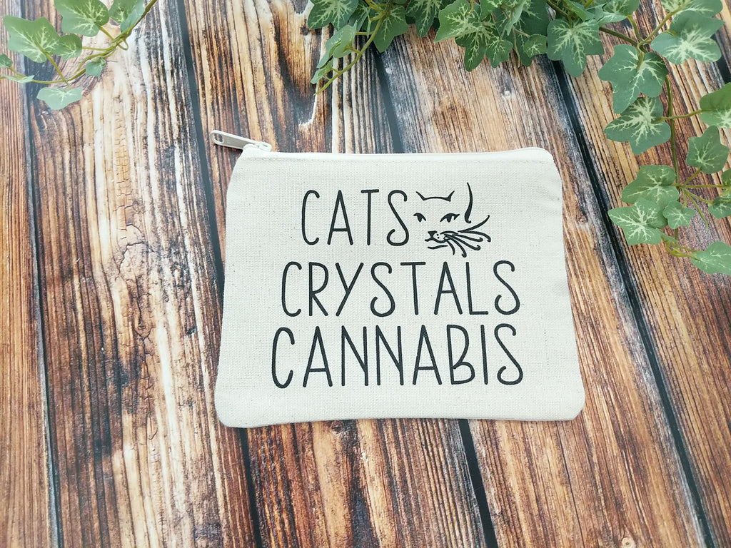Cats Crystals Cannabis Canvas Zipper Bag