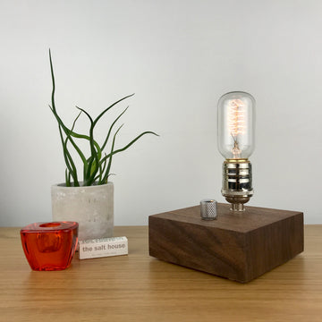 BLOCK - Black Walnut | modern industrial table lamp with dimmer and Edison bulb