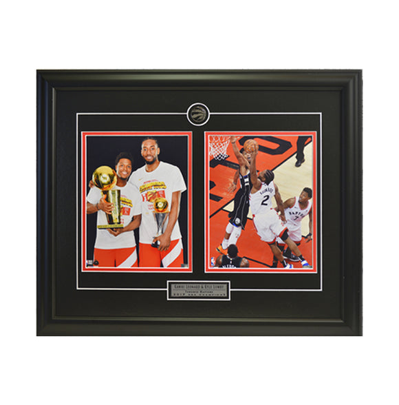 Kawhi Leonard &  Kyle Lowry Dual, Trophies & Action Framed Photo (23 by 19 Frame)
