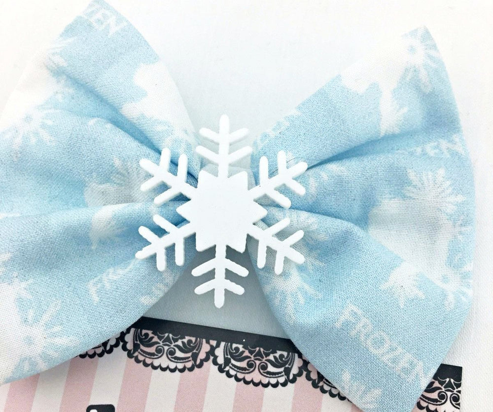 CLEARANCE! Queen Elsa with Snowflake Medium Fabric Hair Bow Light Blue Frozen Hair Clip
