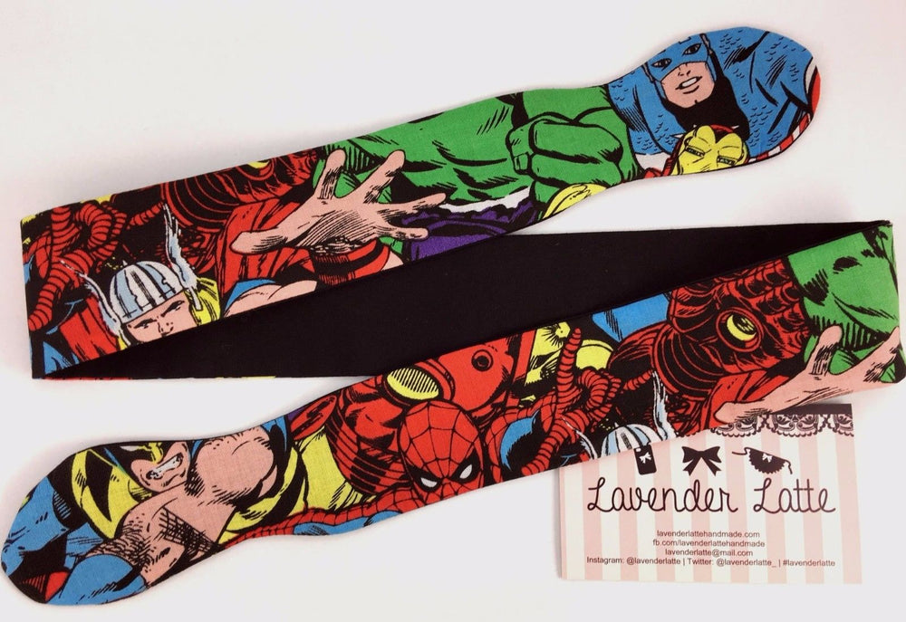 Avengers Comic Book Reversible Head Tie Geeky Print with Black Head Wrap
