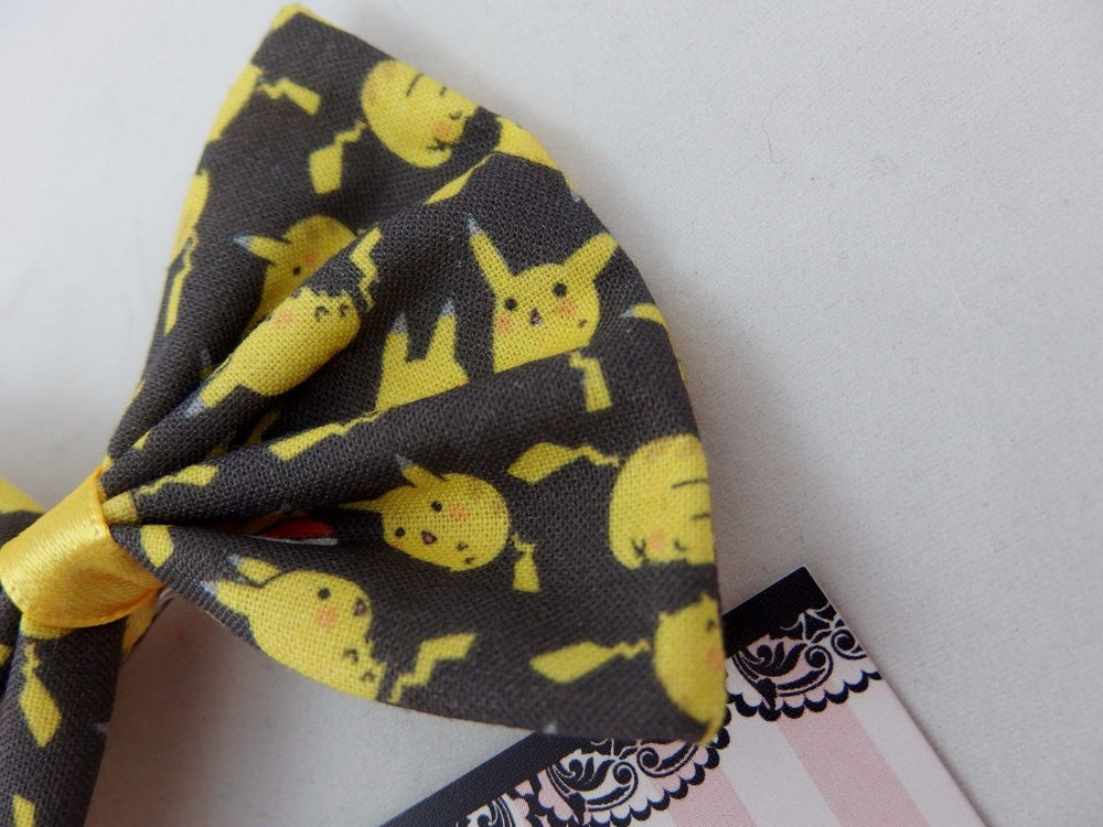 CLEARANCE! Pikachu Dark Grey and Yellow Fabric Hair Bow