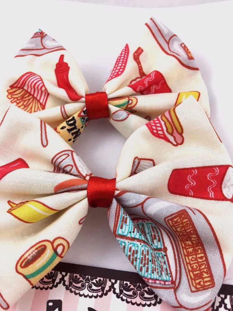 1950s Diner Food Fabric Medium Hair Bow Pin Up 50s Inspired Hair Clip