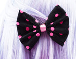 Black and Pink Polkadot Print Medium Fabric Hair Bow