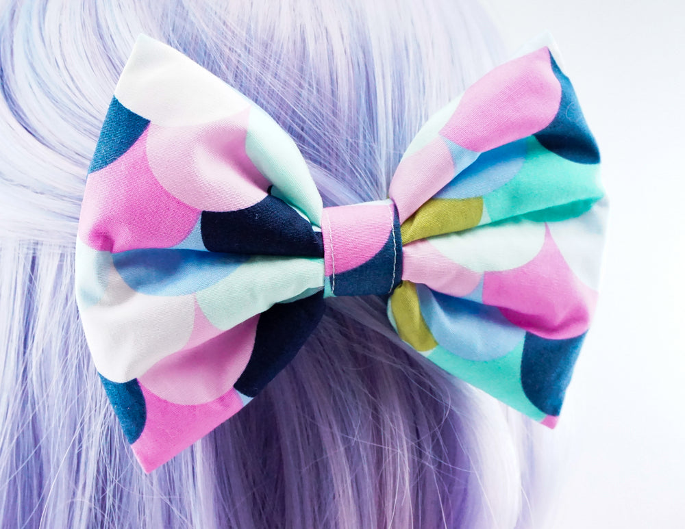 Multi-Coloured Scalloped Scales Handmade Print Large Hair Bow - Hair Clip