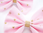 Pink and Metallic Gold Heart Print Medium Fabric Hair Bow