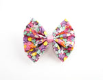 1 ONLY Valentines Candy Hearts Print Medium Fabric Hair Bow