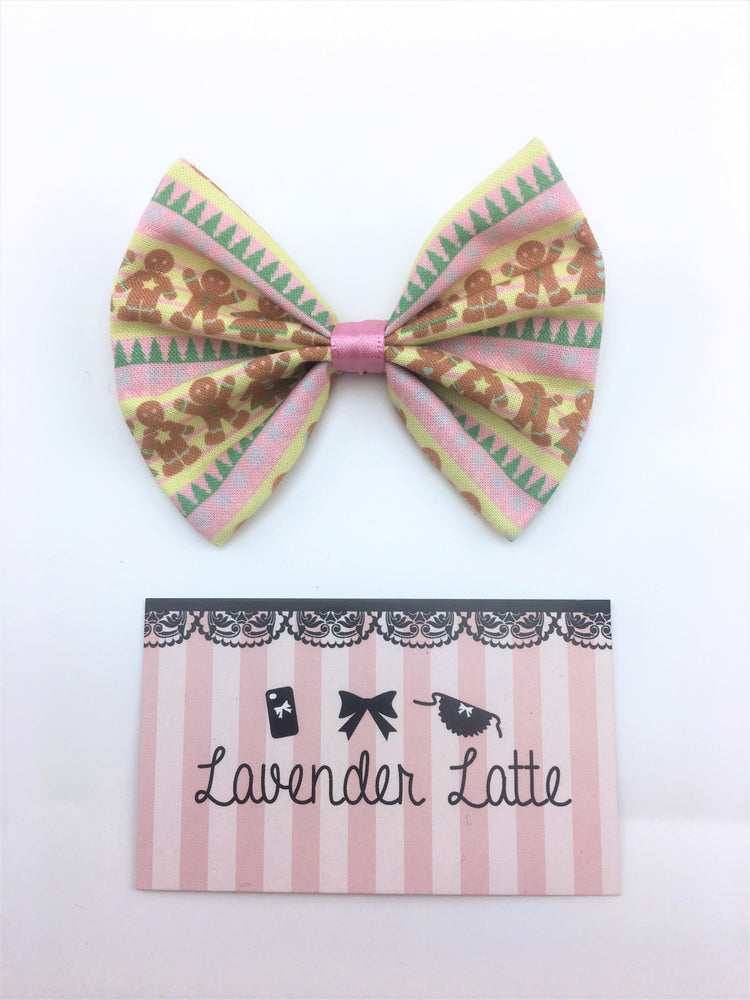 Cute Ginger Bread Christmas Print Fabric Medium Hair Bow