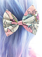 LAST ONE- Pastel Unicorn with Pink Clouds Medium Fabric Hair Bow