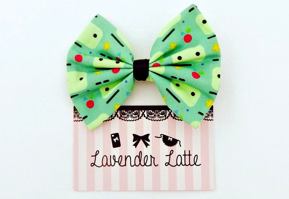 CLEARANCE! Mint Green Cartoon Print Nerdy Geek Fabric Hair Bow Teal Kawaii Hair Clip