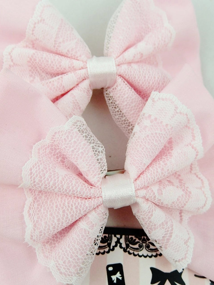 Baby Pink Fabric Medium Hair Bow with White Lace Overlay