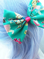 CLEARANCE! Retro Child's Play Teal Print Hair Bow with Toys